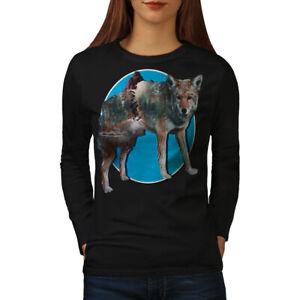 Wellcoda Wolf Beast Nature Animal Womens Long Sleeve T-shirt, Fox Casual Design