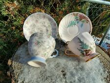New listing Vintage Tuscan English Bone China Tea Cup And Saucer Pink & Blue Footed