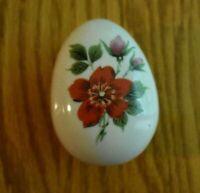 Vintage Hand Painted Three Footed Egg Shaped Trinket Box