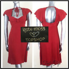 Kate Moss Topshop Red Mini Dress Queen Anne Sweetheart Neckline Cut Out Back 12