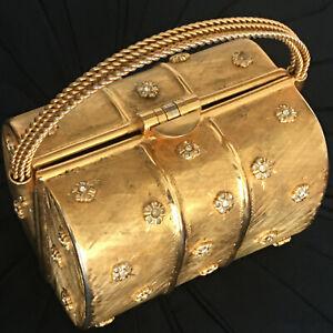 Rare RODO Brushed Gold Tone Metal Evening Bag Purse Minaudière Handbag