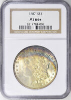 1887 Morgan Silver Dollar - NGC  MS-64 Star - Mint State 64 - Star Morgan Dollar