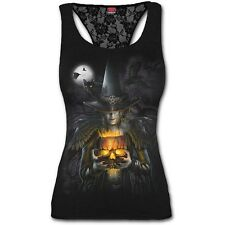 SPIRAL DIRECT WITCHING HOUR Racer Back Lace Vest/Goth/Toxic/Cat/Halloween/Top