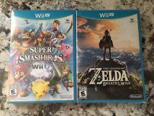2 GAME LOT Super Smash Bros. + Legend of Zelda Breath of the Wild Nintendo Wii U