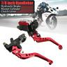 "7/8"" 22mm Universal Motorcycle Brake Clutch Master Cylinder Lever Reservoir Red"