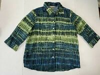 Tanjay Womens Size 12 Green & Blue Sheer Polka Dot Button Down Blouse 3/4 Sleeve