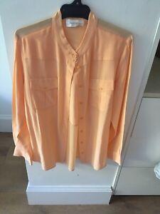 Zimmermann Spliced Collarless, Peach Coloured, Silk Button Up Shirt, Sample