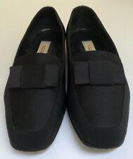 Talbots Black Silk Leather Block Heels Size 8 WW