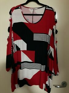TS TAKING SHAPE - By 'Virtuelle' LS Feature TOP Tunic Jumper Red Black White EC