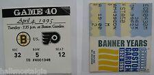 Boston Bruins April 4, 1995 Last Year Boston Garden Tickets (2 Usher Stubs)