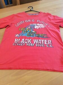 boys clothes 11-12 years M&S Red Cotton Surfers Point Short Sleeved Top T-Shirt
