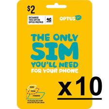 10 x AUSTRALIAN OPTUS PREPAID MOBILE SIM CARD KIT 3G 4G CELL PHONE NANO MICRO