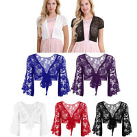 Women Casual Solid Long Sleeve Floral Lace Shrug Open Front Bolero CardiganM-3XL