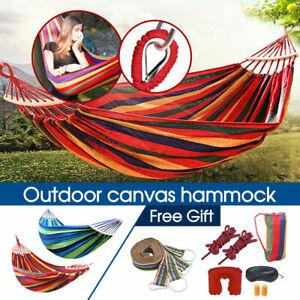 Double Hanging Hammock Outdoor Garden Travel Beach Swinging Bed Camping