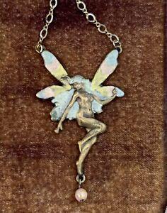 ESTATE Art Nouveau Enamel Nude Lady Fairy Pendant Necklace Antique