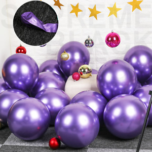 50 Purple Metallic Balloons Chrome Shiny Latex 12 Thicken For Wedding Party Baby