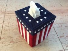 American Flag tissue box cover, boutique size, handmade, needlepoint