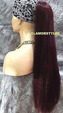 Long Straight Burgundy Ponytail Hair Piece Extension Drawstring Heat Ok  #99J