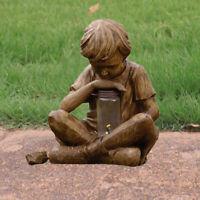 Rustikalen Junge Skulptur Licht Ornament Figur Statue Garten Handwerk