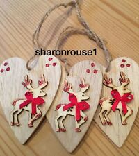 3 X Christmas Decorations Reindeer Shabby Chic Rustic Nordic Wood Handmade Red