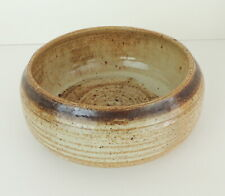 Hand Wheel Thrown Clay Bowl Pottery Signed Brown Beige Glazed Natural Primitive