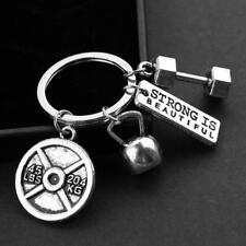 Dumbbell Barbell Weight Charm Chain Keychain Fitness Weightlifting Gym Crossfit;
