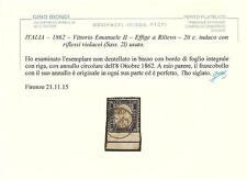 ITALIA–1862–V.Emanuele II– Effige a Rilievo–20c. indaco- Non dentellato in basso