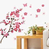 Butterfly Cherry Blossom Flower Tree Branch Removable Wall Sticker Art Mural