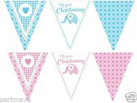 12ft Christening Party Girl's Pink Boys Blue Elephant Paper Bunting Decoration