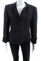 Armani Collezioni Womens Four Button Collared Blazer Jacket Gray Wool Size 12