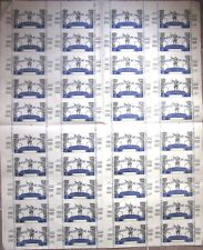 French Lottery Nationale 1940s Tickets - Uncut POSTER-Size Sheet of Fourty (40)