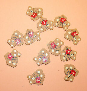 12 Flat Wooden Teddy Bear shapes holding red presents Card Topper Embellishments