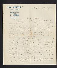 """CAEN (14) CAFE-RESTAURANT-TABAC """"LA CIVETTE / L. JOBELIN Propriétaire"""" en 1930"""