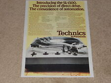 Technics Sl-1300 Turntable Ad, 1974, 1 pg, Article, Info, Specs, Rare Ad!