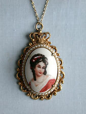 "Limoges France FLORENZA Detail Painted Cameo-12GF Setting w/ Pearls & 16"" Chain"