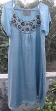 Blue,feather Light Pure Silk Dress (Gold Sequin Embroidery)M/L+anthropologie mag