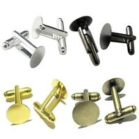 10PC Silver/Bronze/Gold 6/8/10/12/14/15/16mm Round Blank Settings Cuff Links