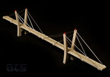 """N Scale 30"""" (400') Cable-Stayed Suspension Bridge, Fully Assembled, Flat Black"""