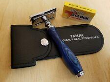Safety Razor Double Edge Wood Handle Razors + 5 Free Blades Pouch travel Kit Set
