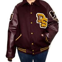 Meca Sportswear Varsity Letterman Jacket XL Leather Wool 05 Maroon Gold Blank