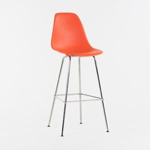 Ray and Charles Eames Herman Miller Molded Shell Bar Stool Chair Red Orange