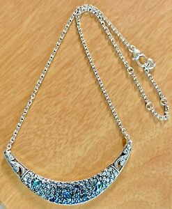 Brighton CRYSTAL VOYAGE BLUE Silver Tone Collar Necklace