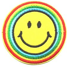 Smiley Face Rainbow Emoji Embroidered Iron Sew On Patch Hippie LGBT Goth Gay