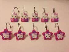 Set of 10 Hello Kitty Shower Curtain Hooks Stars Hearts Pink Silver Metal Hooks