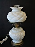 Vintage GWTW White Milk Glass Hurricane Table Lamp w Quilted White Satin Shade