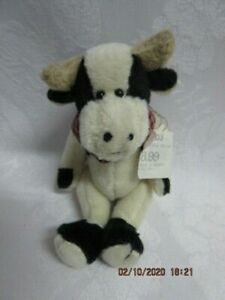 """Vtg. NWT Boyds Bear Mini Rare Jointed Cow,T F Wuzzies 1997 2000 5"""", 595105-0, EX"""