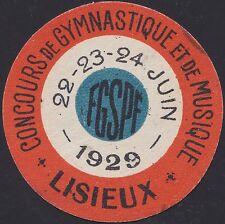 FRANCE VIGNETTE LISIEUX 1929, Concours  Gymnastique et Musique, LABEL CINDERELLA