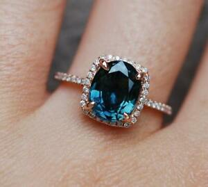 3Ct Oval Cut London Blue Topaz Synt Diamond Ring Size 8 Rose Gold Finish Silver