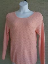 Kim Rogers Cotton Textured  Knit Crew Neck L/S  Sweater L Peach msrp $40.00