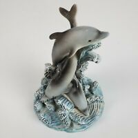 Three Dolphins Figurine Small 4 Inch Ceramic Blue Gray Beautiful